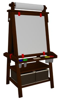 Little Partners Deluxe Art Easel (Espresso) - Two Sided A-Frame Paint Easel…
