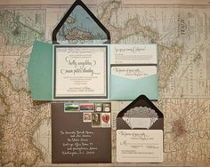 These wedding invites are GORGEOUS - love the idea of all of the vintage stamps instead of ugly modern ones!