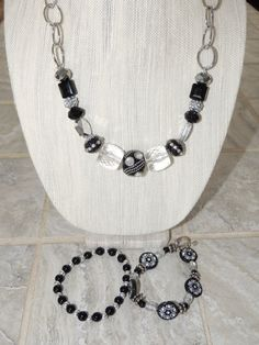 Handmade Funky Chunky Black and Silver Necklace by GabiLuBoutique