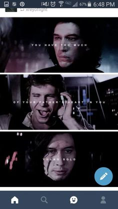 Han and Ben Solo. *hardcore cries because of that middle picture*