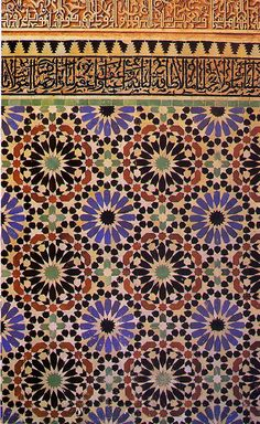 A tiled mosaic dado in the Saadian tombs at Marrakesh.