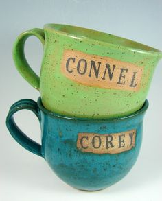 $20 Personalized Custom Handmade Mugs by patspottery on etsy