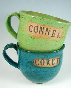 $20 Personalized Custom Handmade Mugs by patspottery on etsy