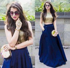 Crop Top And Blue Silk Dress Lehenga Choli ,Indian Dresses - 1 Indian Lehenga, Lehenga Anarkali, Lehenga Indien, Blue Lehenga, Lehnga Dress, Lehenga Crop Top, Indian Salwar Kameez, Sharara, Bridal Lehenga