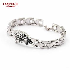 Hot Movie Charm Bracelet Game of Thrones Stark Wolf Head Silver Metal Fashion Jewelry Link Chain Bracelet Bangle for Women Men