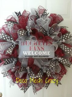 Ohio State Buckeyes Curly Deco Mesh Sports Wreath by DecoMeshCrazy, $42.00