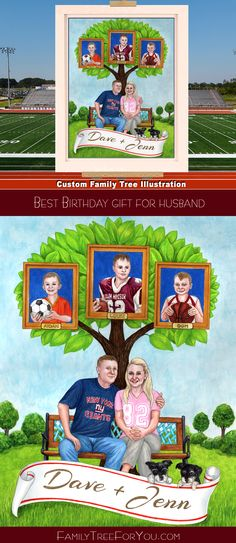 Best birthday gift for husband: his own family tree with a portrait of the parents, kids, and pets. Customized with personal details, such as family's favorite football teams and sports that his children play. A sentimental gift that tells your family story and preserves it forever.  #birthdaygifts #personalizedgifts #familytree #customportrait #petsportrait #creativegiftsformen #giftideashusband #giftsformen #birthdayman #uniquegiftsformen #customgifts #handpainted #meaningfulgifts #giftsforhim Family Tree For Kids, Family Tree Art, Gifts For Family, Creative Birthday Gifts, Best Birthday Gifts, Creative Gifts, Anniversary Gifts For Parents, Birthday Gifts For Husband, Personalised Family Tree