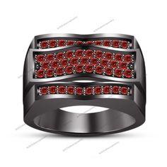 Lab-Created Red Garnet 14K Black Gold Gp.925 Silver Men's Design Wedding Ring…