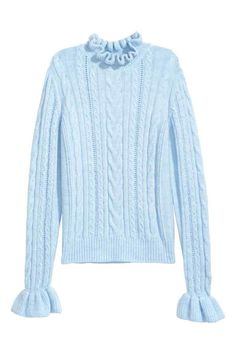 H&M Cable-knit Sweater - Light blue - Women Cardigan Sweaters For Women, Winter Sweaters, Cardigans For Women, Cable Knit Jumper, Knit Cardigan, Snoopy Sweater, Pretty Outfits, Cool Outfits, Essentiels Mode