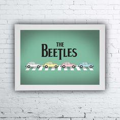 quadrinho beetles, quadrinhos divertidos, quadrinhos de música, quadrinhos de rock, quadrinhos de banda, The Beetles poster, fusca, quadrinho fusca