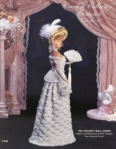 1901 Society Ball Gown for Barbie Doll Paradise Vol. 17 Crochet PATTERN Leaflet