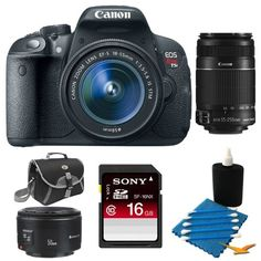 Canon EOS Rebel T5i 18.0 MP CMOS Digital SLR with 18-55mm EF-S IS STM Lens and 55-250IS lens All inclusive - Includes camera and 18-55mm lens, 16 GB SDHC Memory Card, EF-S 55-250mm f/4-5.6 IS II Telephoto Lens, EF 50mm F/1.8 II Standard Auto Focus Lens, C Canon http://www.amazon.com/dp/B00C0X7FGW/ref=cm_sw_r_pi_dp_9t8tub0HW5AVY