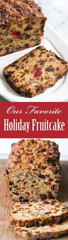 Our Favorite Holiday Fruitcake ~ Fabulous holiday fruitcake! With dates, raisins, walnuts, glazed cherries, and orange zest. Perfect for Christmas celebrations. ~ SimplyRecipes.com