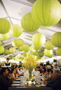 A Milwaukee Art Museum wedding with green paper lanterns and yellow centerpieces. Wedding Reception Venues, Wedding Themes, Wedding Colors, Wedding Flowers, Wedding Decorations, Wedding Ideas, Wedding Prep, Wedding Gowns, Chartreuse Wedding
