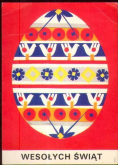 Wesołych Świąt - pisanka - proj.Szymańska-Eineberg Art Costume, Costumes, Polish Folk Art, Vintage Easter, Vintage Postcards, Easter Eggs, Illustrators, Heaven, Wallpaper