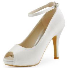 HP1543I Ivory White Stiletto Heel Platform Peep Toe  Satin Wedding Bridal Shoes