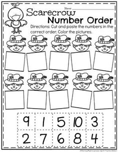 Fall Preschool Worksheets - Scarecrow Number Order.