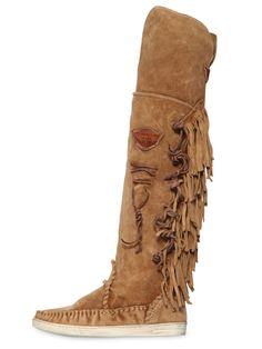 EL VAQUERO 20MM FRINGED SUEDE OVER THE KNEE BOOTS BEIGE QkVJR0UyMTdCSVM1  WOMEN SHOES Stivali Beige 5918d880487