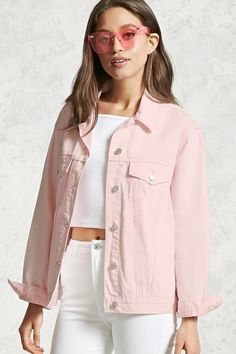 A boxy denim jacket featuring an allover acid wash, a basic collar, button-down front, long sleeves with buttoned cuffs, dual buttoned flap chest pockets and bottom slip pockets.
