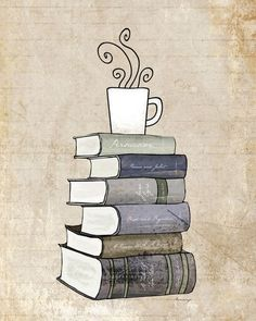 I Love Books and Coffee Print, Kitchen Art Illustration, Books and Reading Book Art, Tea Cafe Art Drawing, Book Lover Art Print Stack Of Books, I Love Books, Good Books, Books To Read, Cafe Art, Book Drawing, Coffee And Books, Kitchen Art, Book Nerd