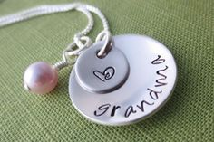 Personalized Grandma Necklace - with Design Stamp - Sterling Silver - Hand Stamped Jewelry - Nana, Mima, Grammy