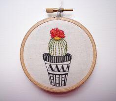 Modern Embroidery 'Cactus 2' 3 inch Hoop by CheeseBeforeBedtime
