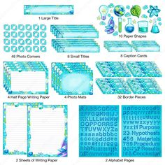 Pieces of the science project kit cut out and laid out neatly. Colorful blue poster borders, photo mats, photo corners, alphabet stickers and more. 6th Grade Science Projects, Science Fair Projects Boards, Chemistry Projects, Chemistry Experiments, School Projects, Science Fair Poster, Science Fair Display Board, Blue Poster, Visual Aids