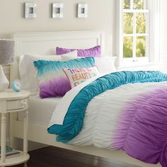 Surf Dip Dye Ruched Duvet Cover & Sham   PBteen  i like the purple and blue, not crazy about how much white there is