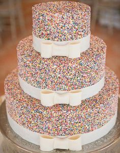Sweet Slices: Feast your eyes on 24 of our favorite unique wedding cakes! Orrrr, that sprinkle cake would make an amazing birthday cake Sprinkle Wedding Cakes, Crazy Wedding Cakes, Unique Wedding Cakes, Unique Weddings, Wedding Ideas, Unique Cakes, Trendy Wedding, Elegant Cakes, Indian Weddings
