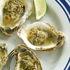Recipe for Baked 13 Mile Oysters with Jalapeño, Lime, and Cilantro Butter