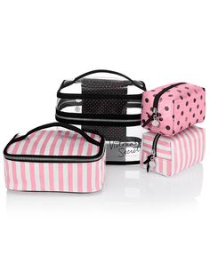 Four-piece Travel Case Victoria Sacs Victoria Secret, Victoria's Secret, Travel Accessories, My Bags, Travel Size Products, Purses And Handbags, Bag Making, Juicy Couture, Cosmetic Bag