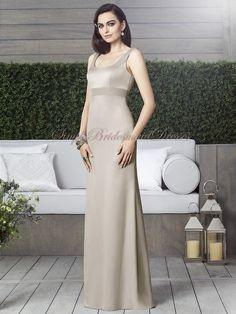Champagne Sash/Beading Satin Straps sand Floor-length Empire Zipper Column/Sheath Sleeveless Bridesmaid Dress
