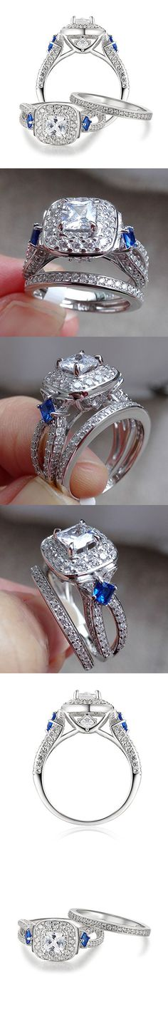 Mens Womens Camo Engagement Wedding Rings Set Silver Titanium