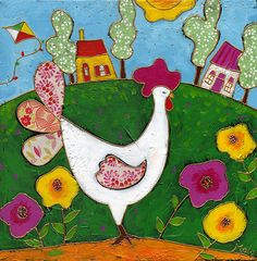 La poule à motif par Isabelle Malo • Acrylique sur toile et collage • Mixed media • Folk art  • www.isamalo.com • Artiste peintre du Québec •Art naïf