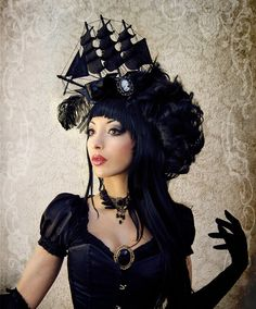 Pirate Ship Headdress ( Fascinator, Goth, Baroque, Rococo, Marie Antoinette...)