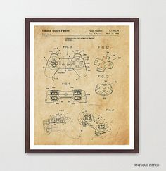 Playstation Patent Poster Video Game Art Video Game Poster