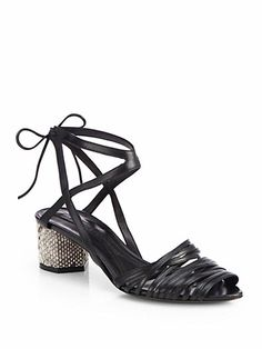 Narciso Rodriguez - Leather & Snakeskin Tie-Up Sandals - Saks.com
