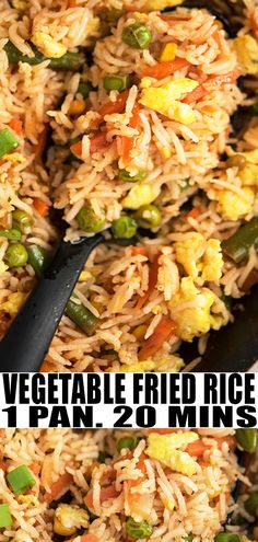 VEGETABLE FRIED RICE RECIPE- Best, healthy, quick and easy veggies stir fry rice, homemade meal with simple ingredients in one pot over stovetop. This 30 minute meal is better than Chinese takeout. Loaded with scrambled eggs and frozen vegetables. Frozen Vegetable Recipes, Veggie Recipes, Vegetarian Recipes, Vegan Vegetarian, Vegetarian Fried Rice, Vegetable Fried Rice, Thai Fried Rice, Stir Fried Rice Recipe, Chinese Vegetables