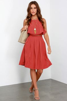 State of Dreaming Rust Red Two-Piece Midi Dress at Lulus.com!