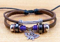 leather strap bracelet for men women Surfer Cuff brown Leather Rope Bracelet   Metal butterfly. $6.99, via Etsy.