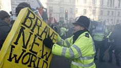 In the protests against tuition fees, protesters carried sandwich boards painted as giant book covers, including Aldous Huxley's Brave New World and Jacques Derrida's Spectres of Marx. Aldous Huxley, Brave New World, Painted Boards, What Next, Book Club Books, Meme, Sandwich Boards, Cyberpunk, Free Delivery
