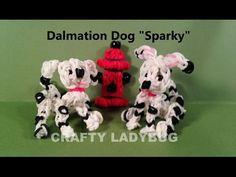 Rainbow Loom DALMATIAN DOG Figure. Designed and loomed by Crafty Ladybug. Click photo for YouTube tutorial. 04/16/14.
