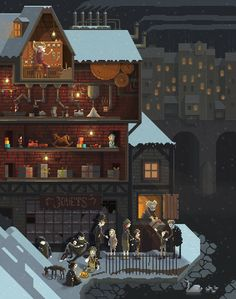 Scene #13: 'The Toy Maker'. Pixel Art illustrations by Octavi Navarro. 2014.  www.pixelshuh.com
