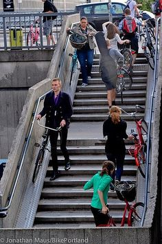 The image of Staircase fitted with a generous bike rail at Copenhagen Central Train Station. The vast network of safe, segregated bike lanes crisscrossing the city has encouraged us to choose the bicycle. The best way to promote green transportation is to Urban Cycling, Urban Bike, Urban Furniture, Street Furniture, Furniture Stores, Furniture Nyc, Furniture Websites, Urban Landscape, Landscape Design
