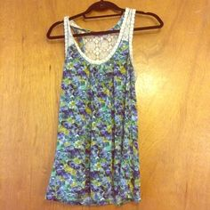 Pretty Crocheted Lace Tank Pretty, stretchy, and very comfortable. Gently worn with slight discoloration under arms (pictured). Macy's Tops Tank Tops