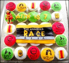 Wait, how DOES the amazing race start! I left off at season These cupcakes are for Faith, Amazing Race Games, Amazing Race Party, 10th Birthday, Birthday Parties, Birthday Ideas, Birthday Celebrations, Birthday Cakes, Happy Birthday, Bible School Snacks