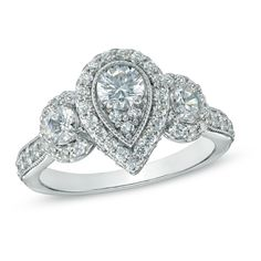 1-1/2 CT. T.W. Diamond Pear Three Stone Engagement Ring in 14K White Gold