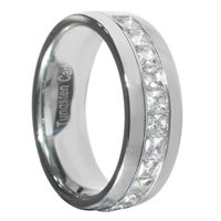 1.3 Carat Princess Cut Polished Finish Dome Band Tungsten Wedding Ring Size 7-15