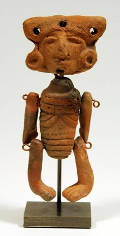 Teotihuacan Articulated Ceramic Figure Mexico, Ca. 200 to 500 AD.  An articulated figure, arms and legs and head pinned together ad inked with date found (1957) and location.