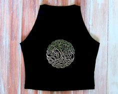 Boho Tree Of Life Crop Top-Embroidered Tree Of by ZellyaDesigns